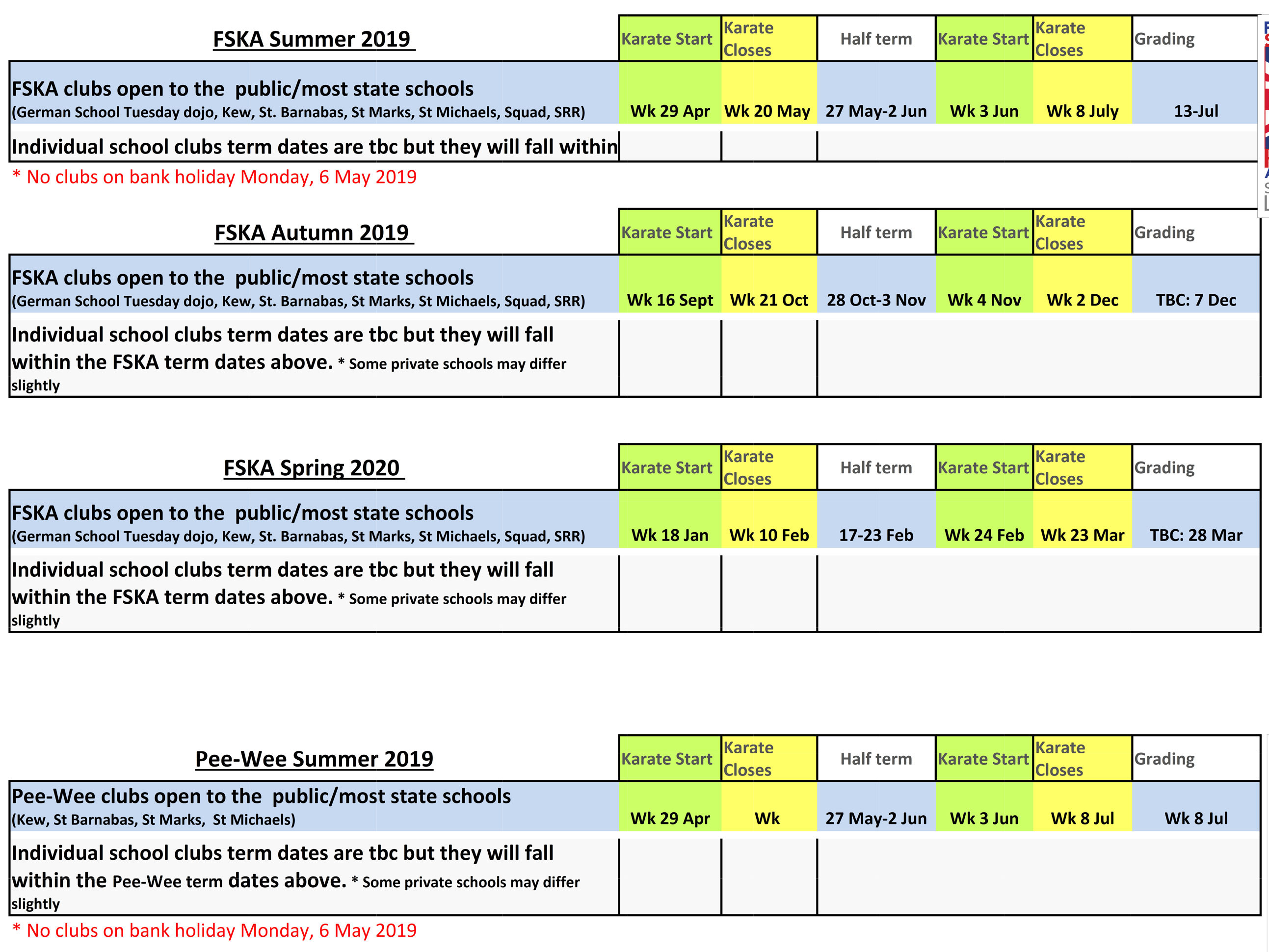 Term Dates Summer 2019 - Spring 2020